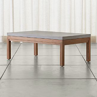 Parsons Small Rectangular Elm Coffee Table with Concrete Top