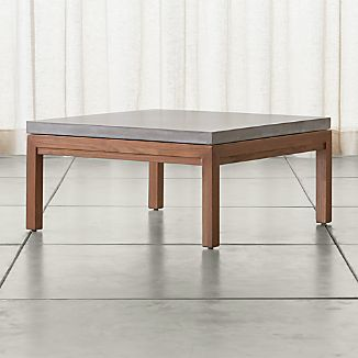 Parsons Square Elm Coffee Table with Concrete Top