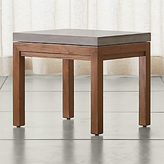 Parsons Elm Side Table with Concrete Top