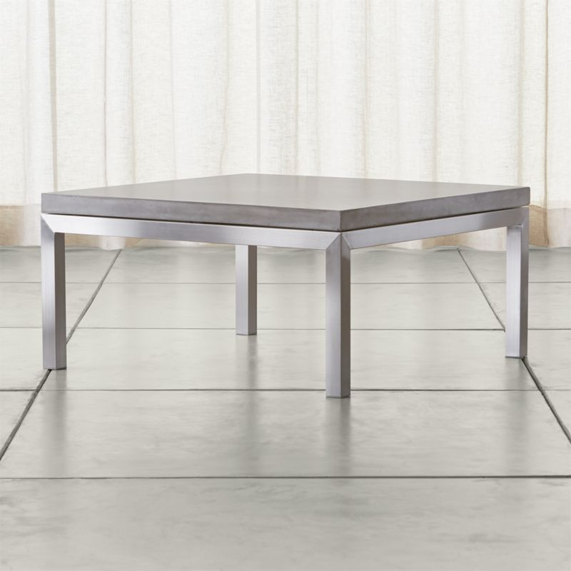 Parsons Concrete Top Stainless Steel Base 36x36 Square Coffee Table Crate And Barrel