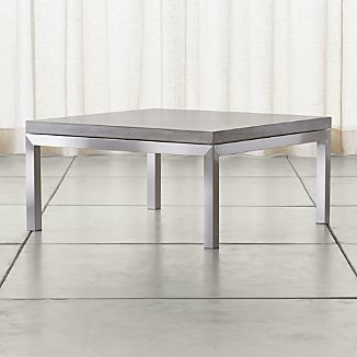 Parsons Square Stainless Steel Coffee Table with Concrete Top