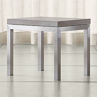 Parsons Stainless Steel Side Table with Concrete Top