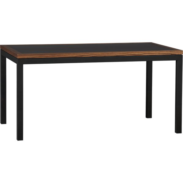 Parsons Elm-Framed Steel Top 60x36 Dining Table with Natural Dark Steel Base