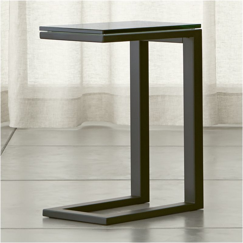 Parsons C Table with Clear Glass Top