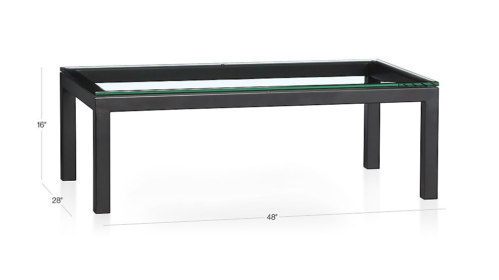 dimensions for parsons rectangular coffee table with clear glass top
