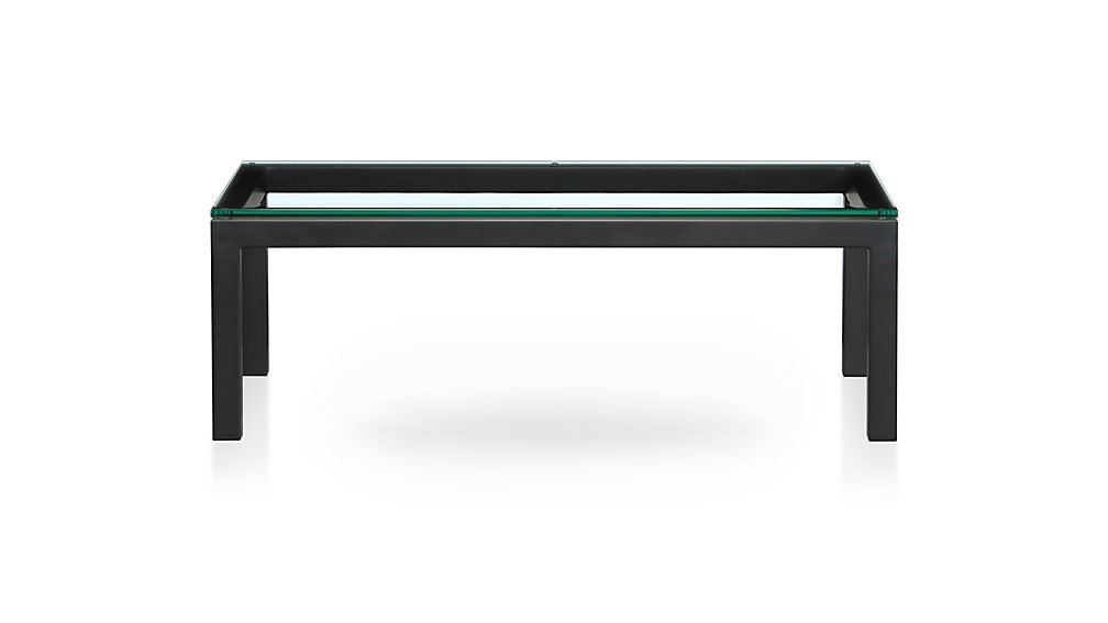 Parsons Rectangular Dark Steel Coffee Table with Glass Top