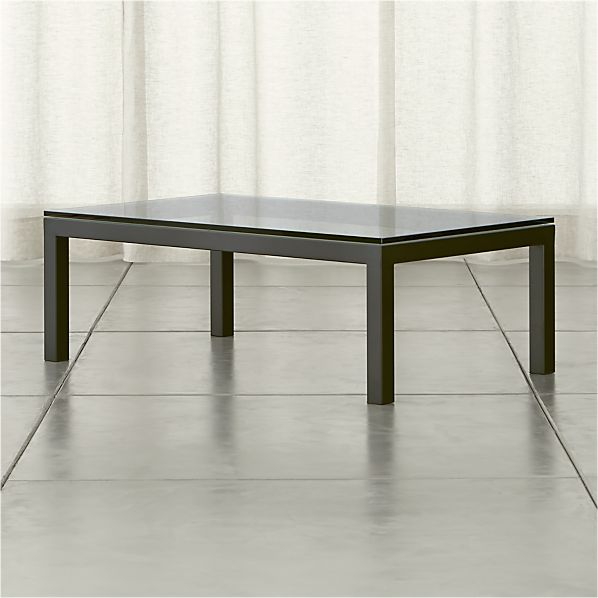 Parsons Rectangular Coffee Table with Glass Top