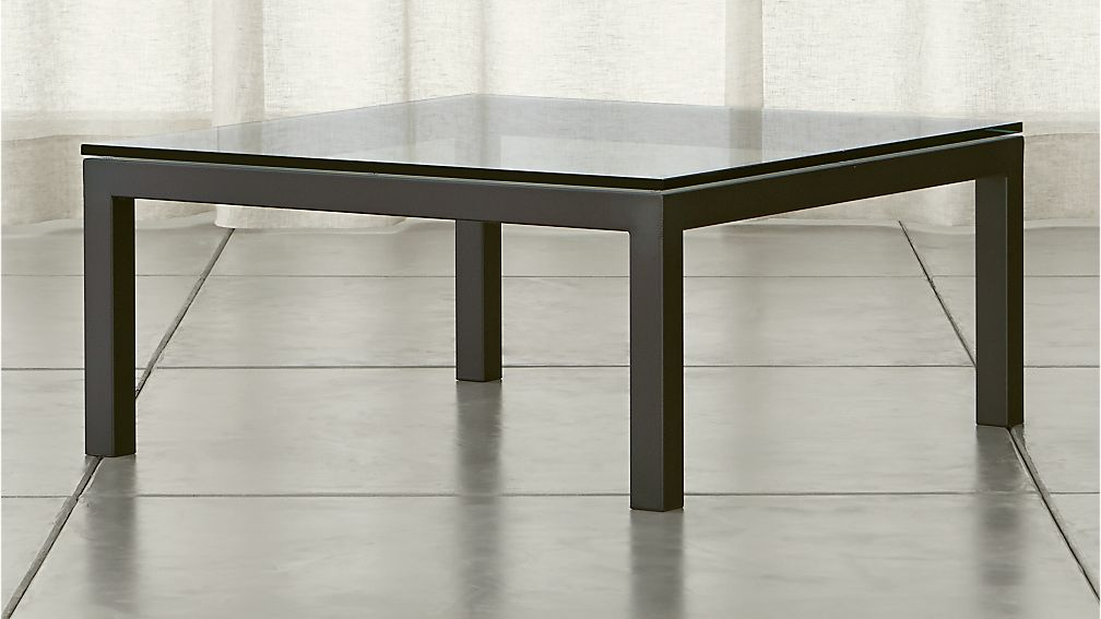 Parsons Square Dark Steel Coffee Table With Clear Glass
