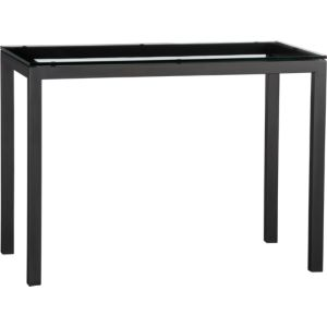 Glass Top/ Natural Dark Steel Base 48x28 Parsons High Dining Table