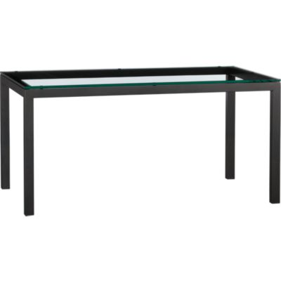 Glass Top/ Natural Dark Steel Base 60x36 Parsons Dining Table