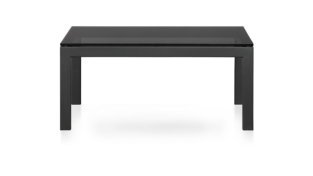 parsons c table with grey glass top crate and barrel