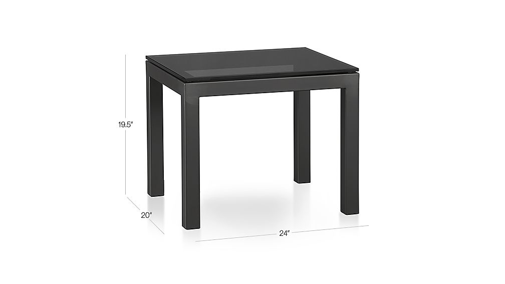 parsons side table with grey glass top crate and barrel