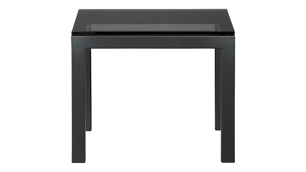 Parsons Side Table with Grey Glass Top