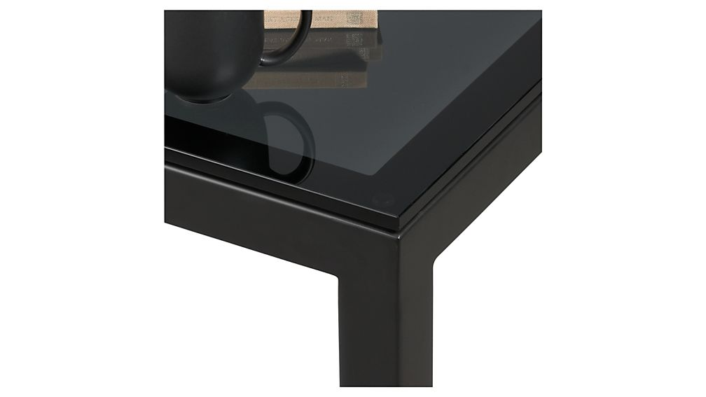 Parsons Dark Steel Side Table with Grey Glass Top