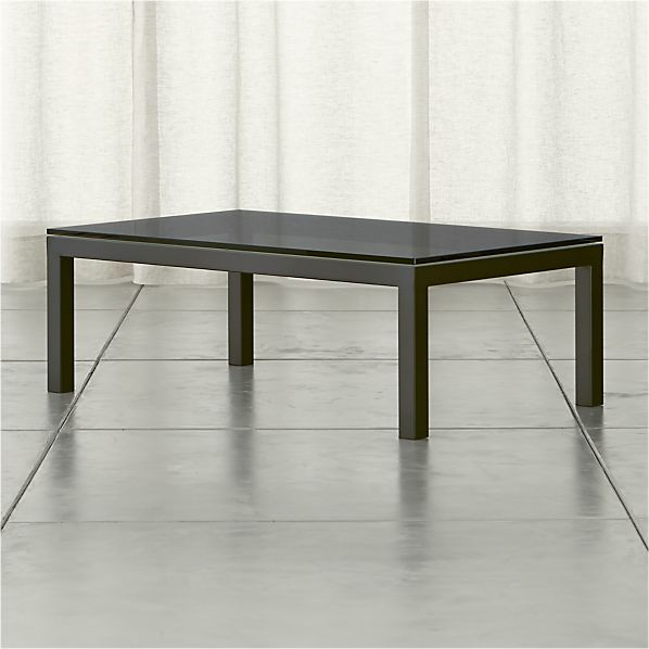 Parsons Rectangular Coffee Table with Grey Glass Top