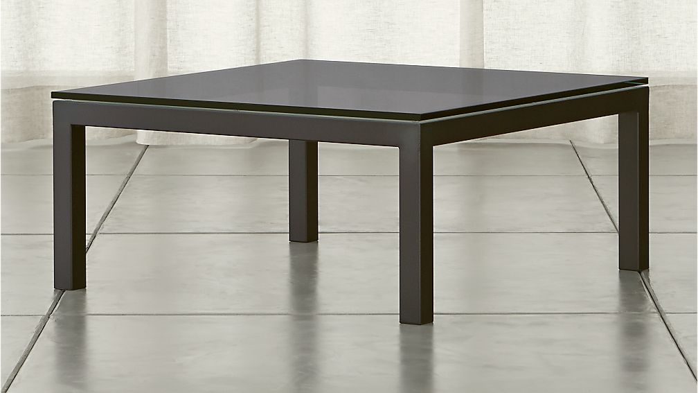 Parsons Square Coffee Table With Grey Glass Top Crate