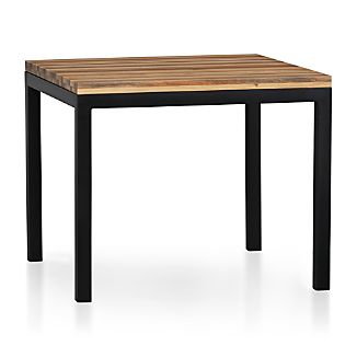 "Reclaimed Wood Top/ Natural Dark Steel Base 36"" Sq. Parsons Dining Table"