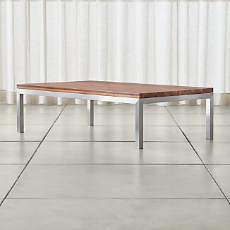 Parsons Large Rectangular Stainless Steel Coffee Table with Reclaimed Wood Top