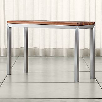 Parsons Stainless Steel Console Table with Reclaimed Wood Top
