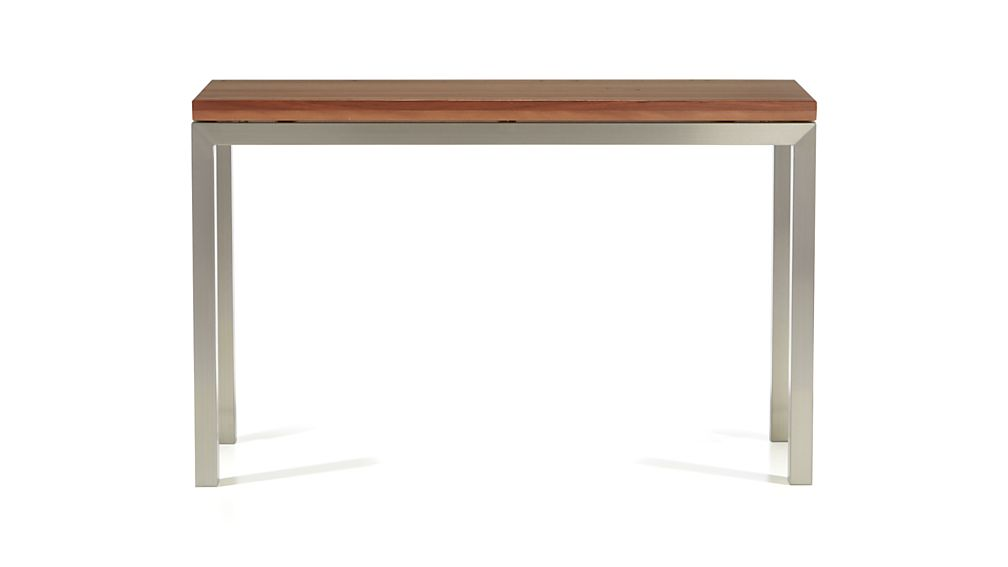 Parsons Coffee Table Crate And Barrel Parsons Stainless Steel Console Table with Reclaimed Wood Top   Crate ...