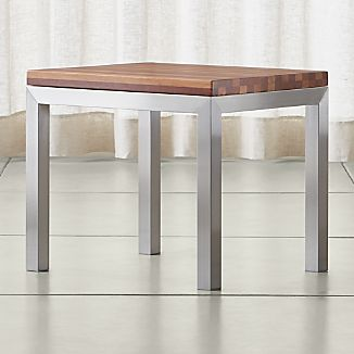 Parsons Stainless Steel Side Table with Reclaimed Wood Top