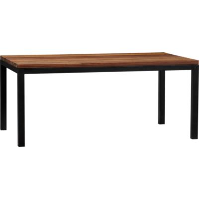 Parsons Reclaimed Wood Top 72x42 Dining Table with Natural Dark Steel Base