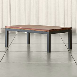 Parsons Small Rectangular Dark Steel Coffee Table with Reclaimed Wood Top