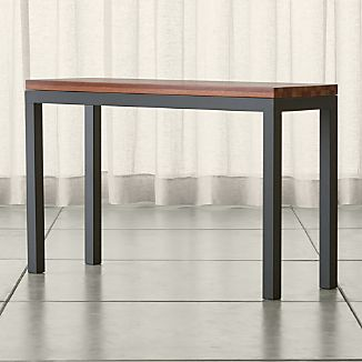 Parsons Dark Steel Console Table with Reclaimed Wood Top