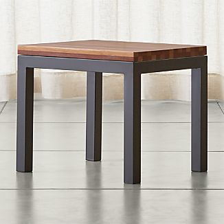 Parsons Dark Steel Side Table with Reclaimed Wood Top