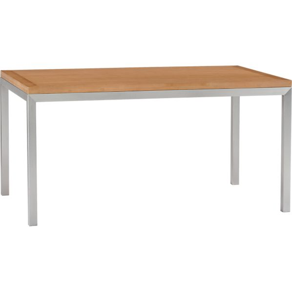 Parsons Bamboo Top 60x36 Dining Table with Stainless Steel Base