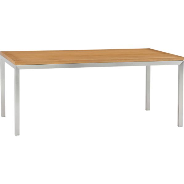 Parsons Bamboo Top 72x42 Dining Table with Stainless Steel Base