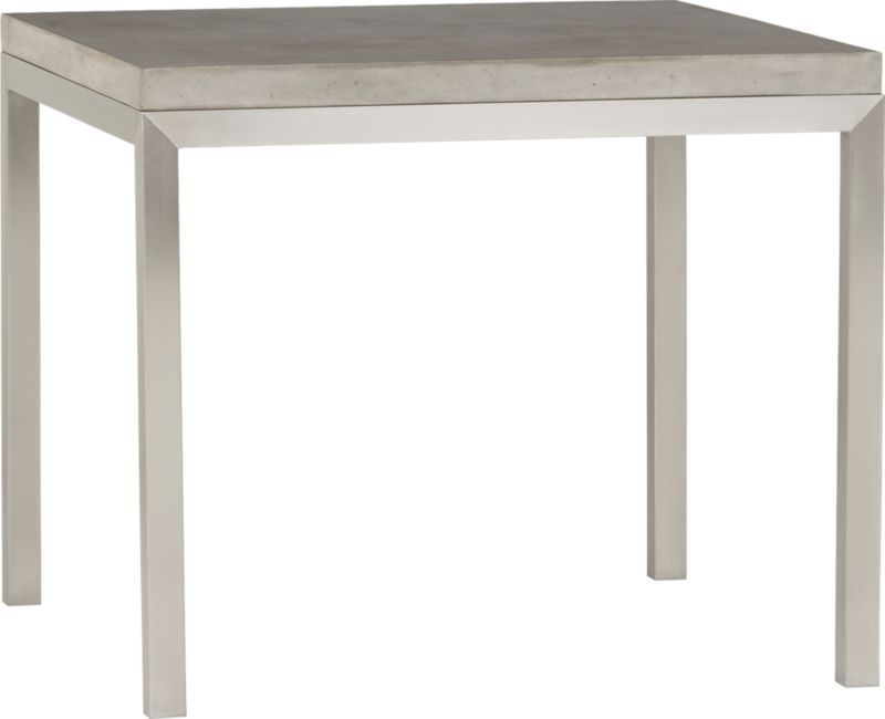 Start with a great base. Top it off with an eye-catching top. Voila—the perfect table. Stainless-steel frame with a contemporary matte finish supports with clean simple lines. Gorgeous warm grey concrete top mixes up a global compound sourced in Vietnam—marble, stone and granite from the mountainous Dalat region and grassy fibers from the Mekong Delta for added strength. Clean and modern material is also eco-friendly, handmade in shops powered without fossil fuels. Due to the handmade nature of the concrete mix, color will vary and may change over time. Seats four.<br /><br /><NEWTAG/><ul><li>Stainless-steel base with matte finish</li><li>Handmade concrete of stone, marble, granite and natural fibers</li><li>Eco-friendly manufacture</li><li>Seats four</li><li>Do not leave spills unattended</li><li>Wipe with damp cloth and dry</li><li>For indoor use only</li><li>Made in Vietnam</li></ul>