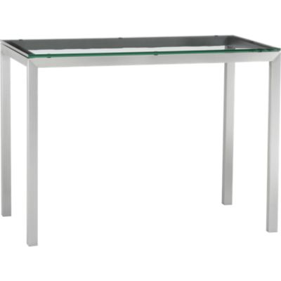Parsons Glass Top 48x28 High Dining Table with Stainless Steel Base