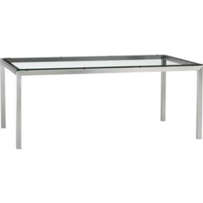 Glass Top/ Stainless Steel Base 72x42 Parsons Dining Table