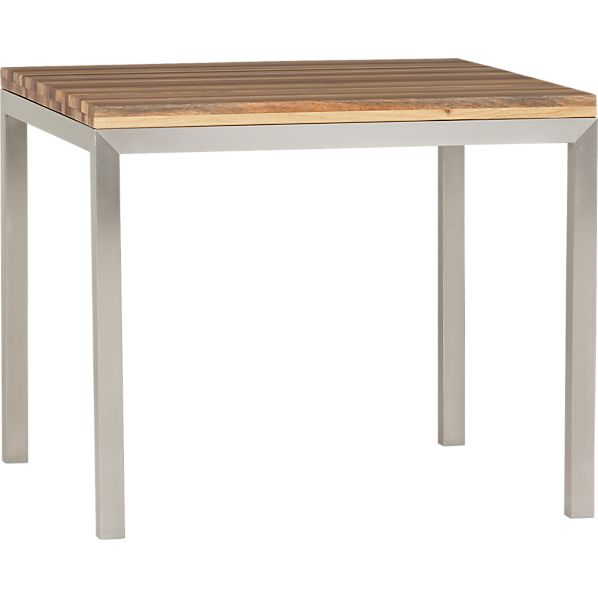 "Reclaimed Wood Top/ Stainless Steel Base 36"" Sq. Parsons Dining Table"