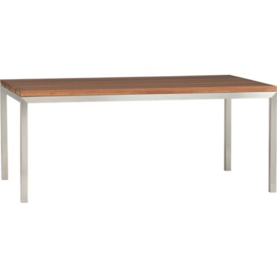 Reclaimed Wood Top/ Stainless Steel Base 72x42 Parsons Dining Table