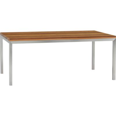 Parsons Reclaimed Wood Top 72x42 Dining Table with Stainless Steel Base