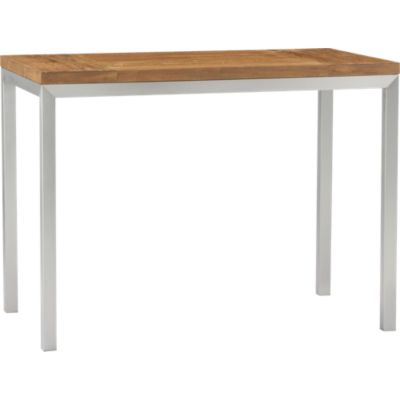Teak Top/ Stainless Steel Base 48x28 Parsons High Dining Table