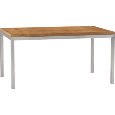 Teak Top/ Stainless Steel Base 60x36 Parsons Dining Table