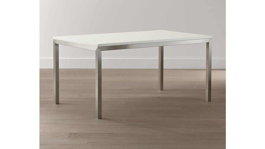White Top/ Stainless Steel Base 48x28 Parsons High Dining Table