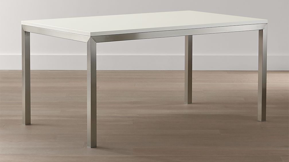 White top stainless steel base parsons dining tables crate and barrel - Crate and barrel parsons chair ...