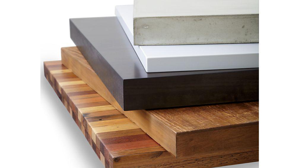 Teak Top/ Natural Dark Steel Base 60x36 Parsons Dining Table