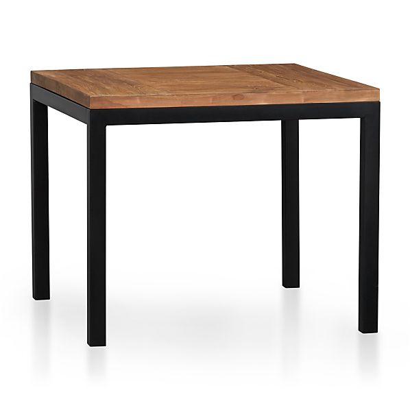 "Teak Top/ Natural Dark Steel Base 36"" Sq. Parsons Dining Table"