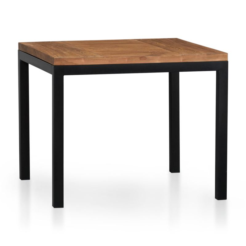 Start with a great base. Top it off with an amazing top. Voila—the perfect table. Hot-rolled steel frame supports with clean simple lines, hand-welded and ground at each corner to create a raw, torched millscale finish. Gorgeous wood top is handcrafted from repurposed teak from Southeast Asia with variations in wood grains, texture and color, knots and other naturally occurring characteristics that add to the distinct character. Seats four.<br /><br /><NEWTAG/><ul><li>100% reclaimed, unfinished teak</li><li>Natural finish</li><li>Naturally occurring texture and knots</li><li>Cut and welded natural dark tubular steel with torched millscale finish at corners</li><li>Clear powdercoat finish on base</li><li>Seats four</li><li>Clean with mild soap and water</li><li>Made in Indonesia and China</li></ul>