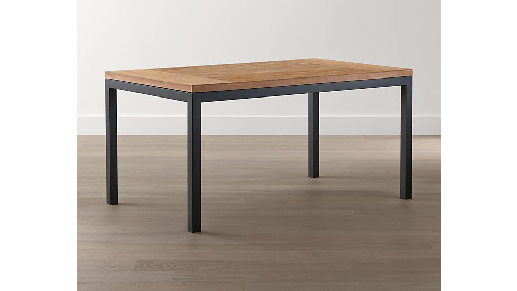 Teak Top/ Natural Dark Steel Base 48x28 Parsons Dining Table