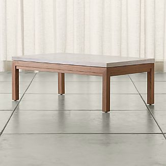 Parsons Small Rectangular Elm Coffee Table with Travertine Top