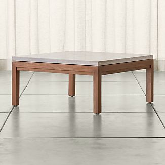 Parsons Square Elm Coffee Table with Travertine Top