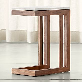 Parsons Elm C Table with Travertine Top