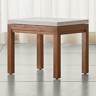 Parsons Elm Side Table with Travertine Top