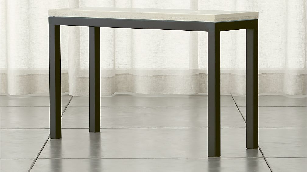 Parsons dark steel console table with travertine top crate and barrel - Crate and barrel parsons chair ...